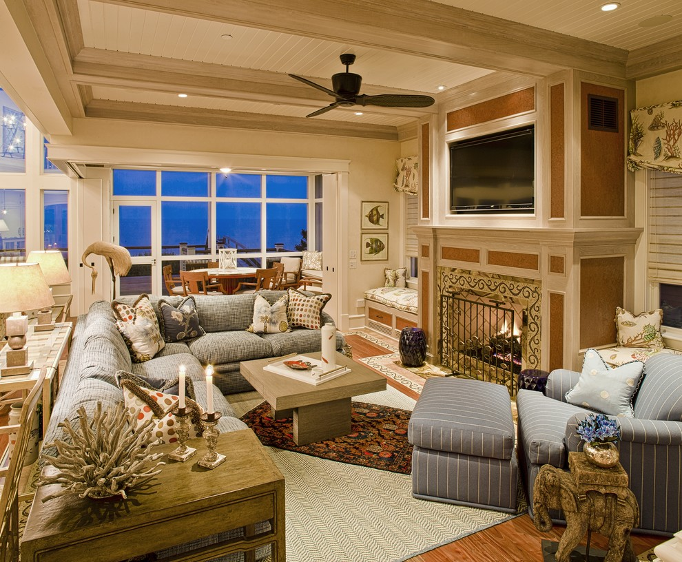 Living Room Sectionals Family Room Traditional with Area Rug Beadboard Beadboard Ceiling Ceiling Fan Ceiling Lighting Ceiling Treatment Corner