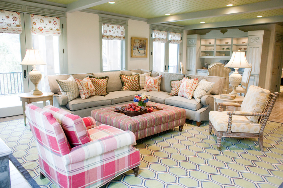 living room sectionals Family Room Traditional with ottoman plaid chair roman shades sectional couch tongue and groove ceiling