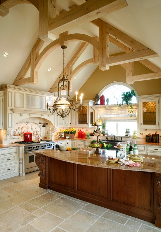 Lloyd Flanders Kitchen Traditional with Artistic Tile Beige Field Tile Floor Tile Ivory Natural Stone Tile Stone