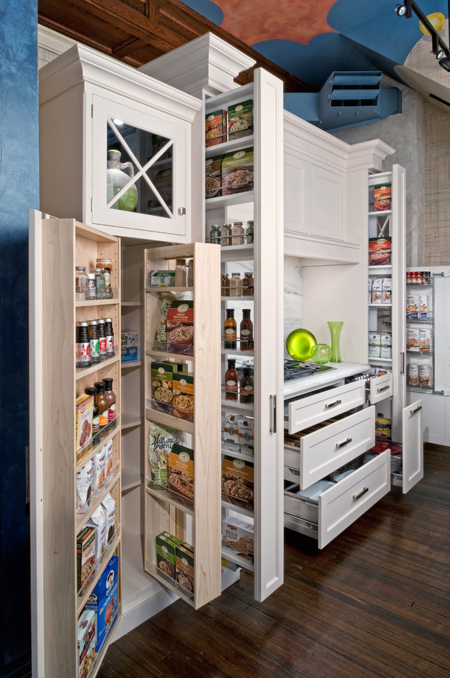 Lockable Storage Cabinets Kitchen Traditional with Cooktop Dark Wood Floor Food Organization Food Storage Glass Cabinet Kitchen Organization
