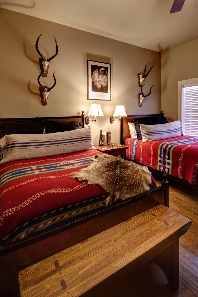 Lodge Bedding Bedroom Southwestern with Animal Mounts Barn Interiors Country Interiors Deer Hide End of Bed Bench