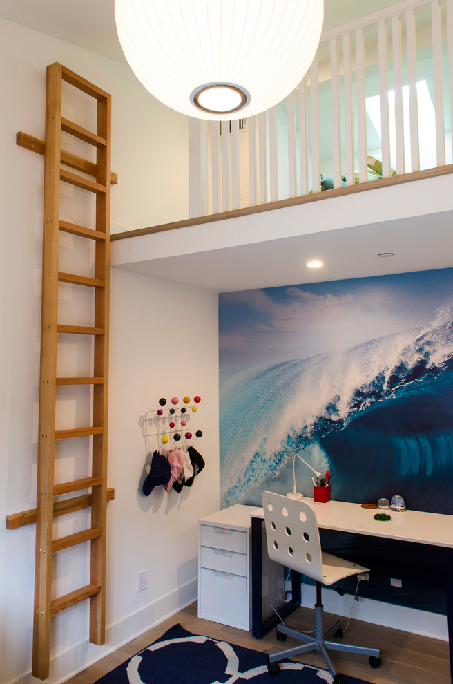 Loft Bed with Desk Underneath Kids Contemporary with Boys Room Ladder Loft Loft Bed Mural New Construction Surf Mural Venice