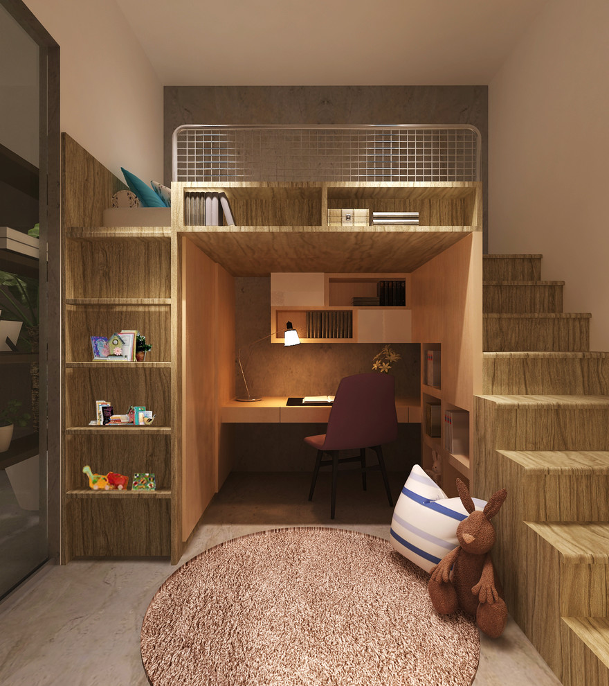 loft bed with desk underneath Kids Contemporary with bed with desk underneath books brown bunny stuffed animal brown desk chair