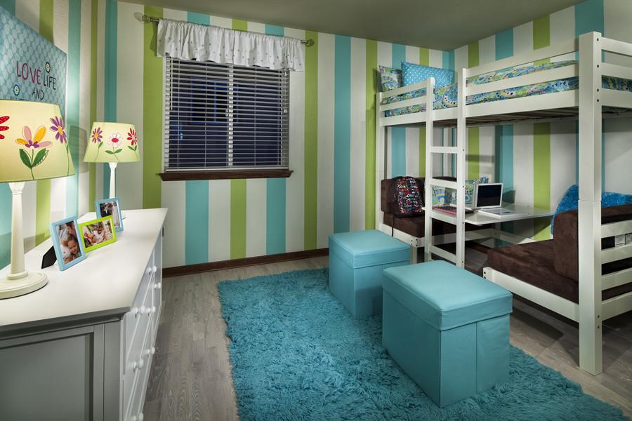 Loft Bed with Desk Underneath Kids Contemporary with Bunk Beds Loft Paint Stripes