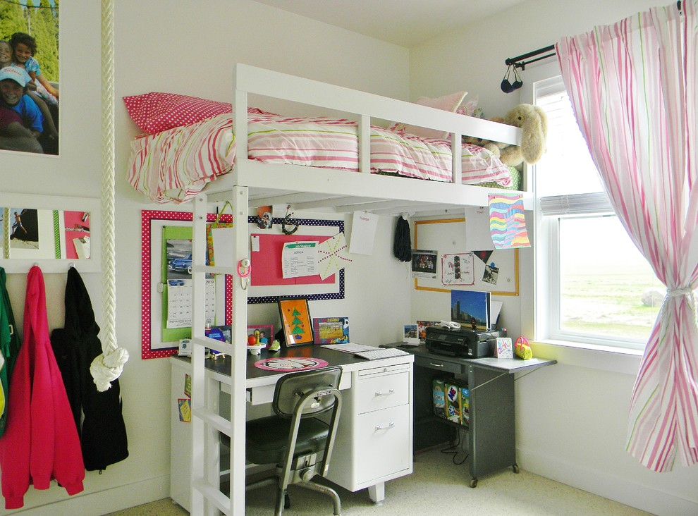 Loft Bed with Desk Underneath Kids Farmhouse with Desk Girl Girls Bedroom Kids Kids Bedroom Loft Bed Rope Swing Space Saver
