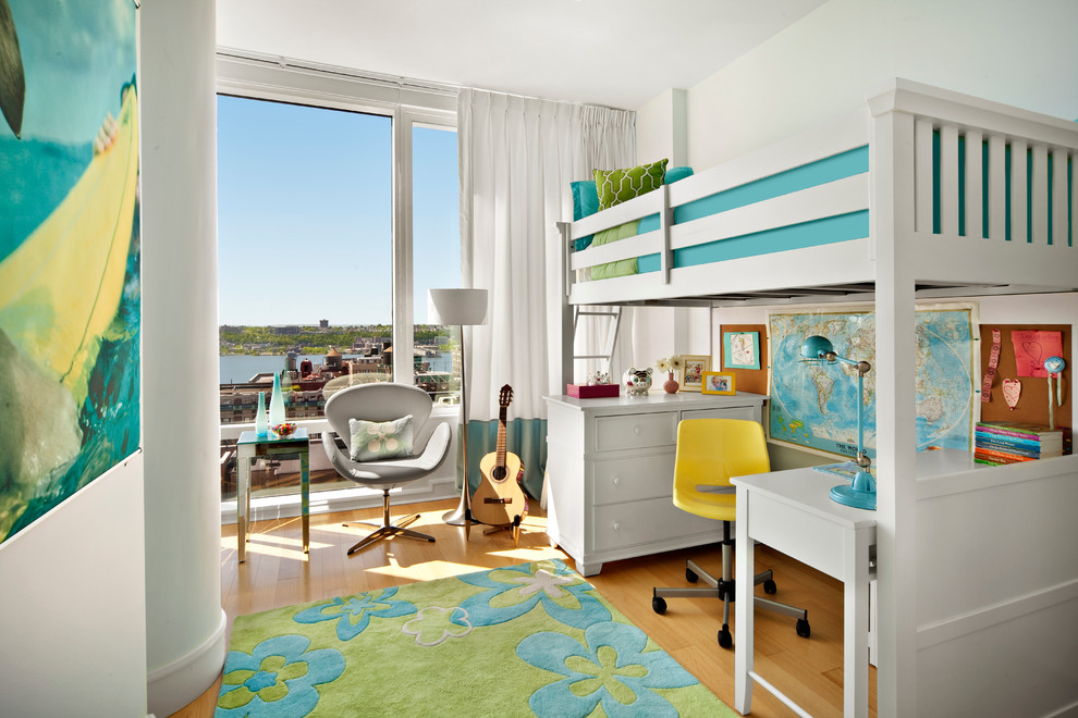 Loft Bed with Desk Underneath Kids Transitional with Blue and Green Bunk Bed Floor Lamp Gray Swivel Chair White Curtains