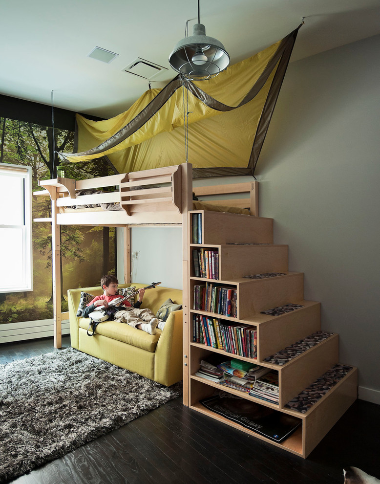 loft bed with stairs Kids Contemporary with Barn Light bed tent bookcase Boy's Room boys bedroom Boys Room bunk