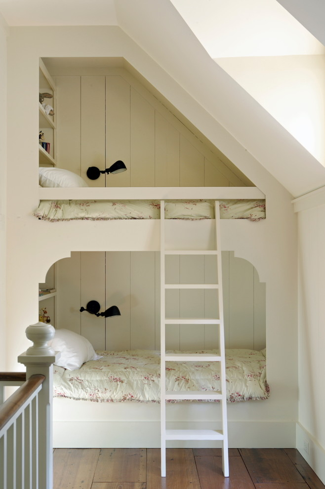 Loft Bunk Bed Kids Traditional with Black Lamps Bunk Beds Floral Bedding Kids Bedroom Ladder Medium Wood Flooring
