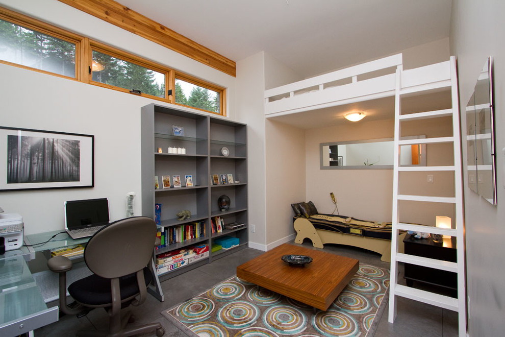 Lofted Bed Kids Transitional with Alcove Area Rug Bedroom Bookshelf Clerestory Windows Concrete Floor Cool Boy Bedroom
