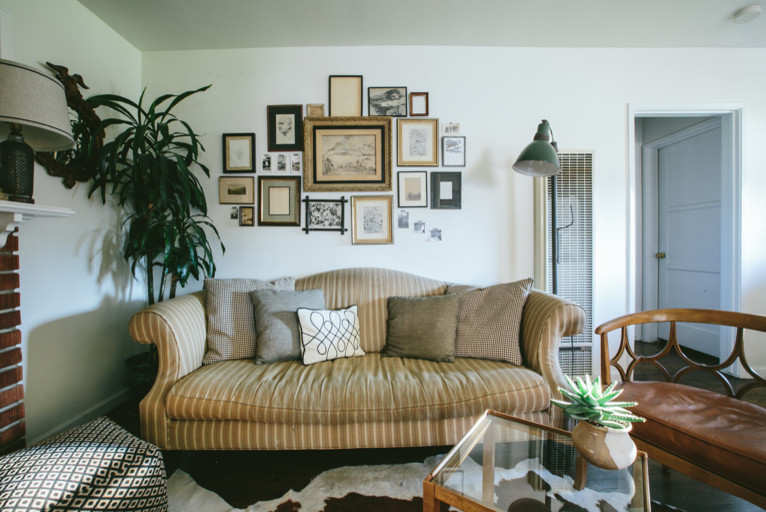 Lofted Bed Living Room Midcentury with Antique Bookcases Built in Bookshelves Built in Shelves Cowhide Rug Dining Room