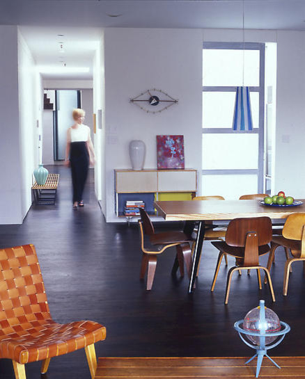 Lounging Chairs Dining Room Modern with Concrete Floor Dining Table Eames Chair Eye Clock Frgglatt Love This Matplats