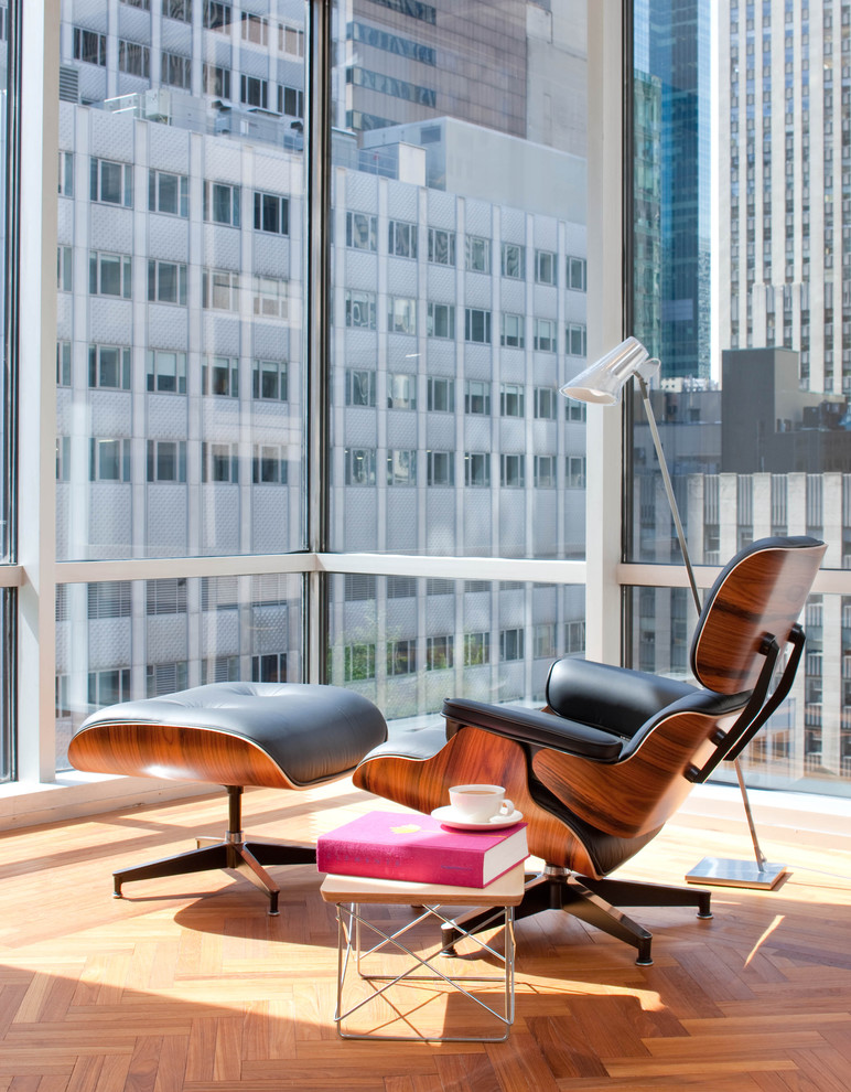 Lounging Chairs Living Room Midcentury with Bright City Corner Windows End Table Floor Lamp Glass Leather Armchair Lounge
