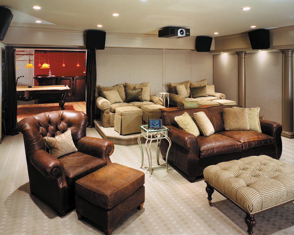 loveseat recliners Home Theater Contemporary with beige carpet beige ottoman beige sofa beige sound panels brown leather chair