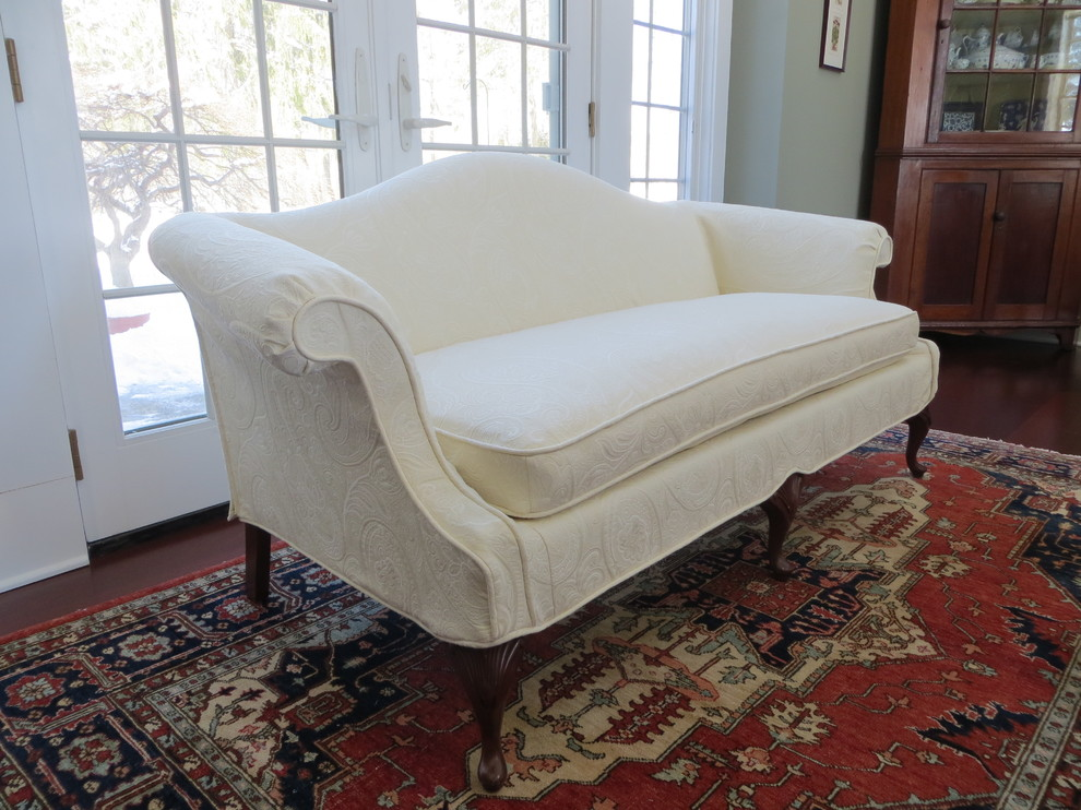 loveseat slipcovers Spaces Traditional with exposed legs ivory loveseat slipcover