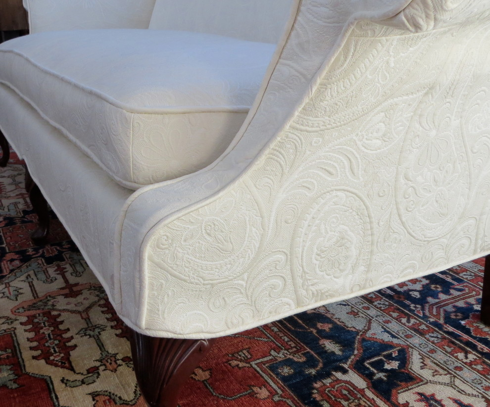 Loveseat Slipcovers Spaces Traditional with Exposed Legs Ivory Loveseat Slipcover 5