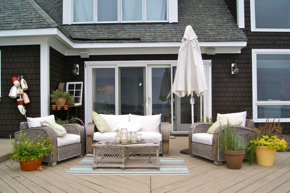 Loveseat Sofa Deck Beach with Beach Deck Buoys Candles Clay Pots Dark Brown Stain Natural White Outdoor