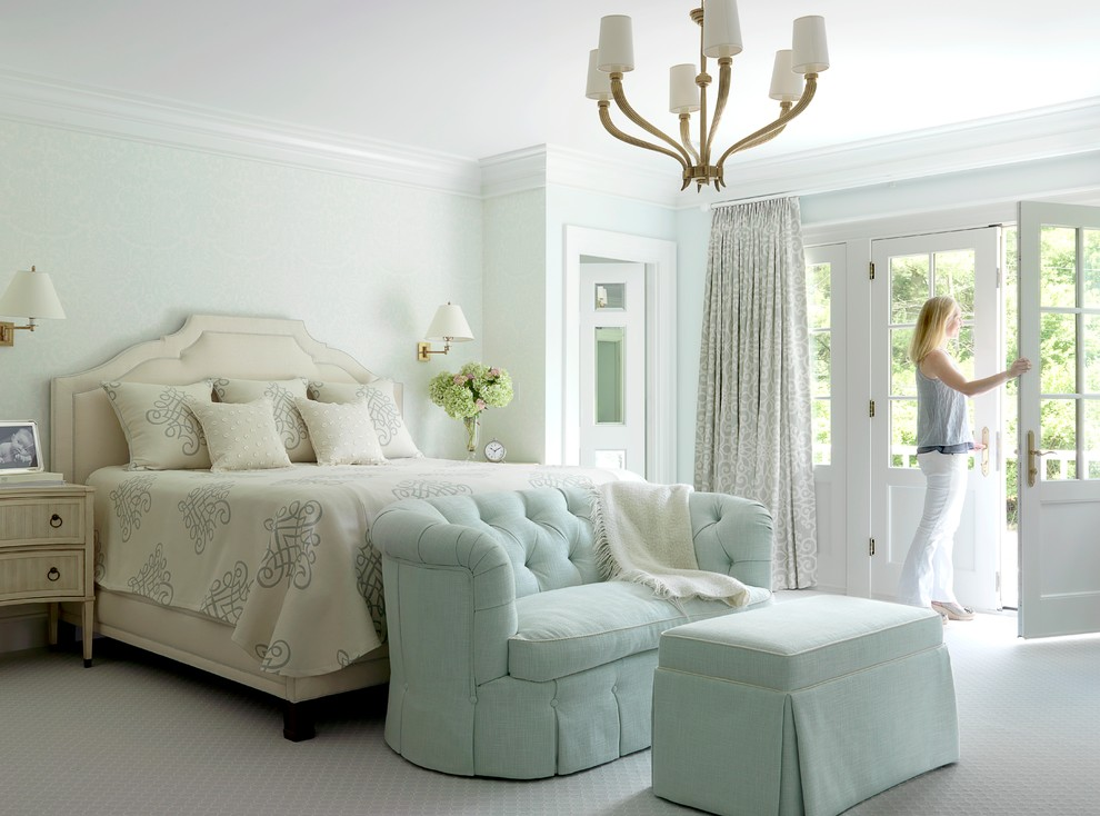 Loveseats Bedroom Traditional with Balcony Bed Carpet Chandelier Light Carpet Master Suite Ottoman Owners Suite Pastels