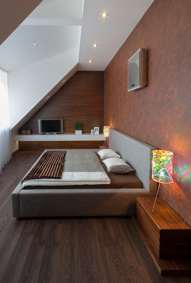 Low Profile Air Conditioner Bedroom Contemporary with Brown Burled Wood Dark Stained Wood Designer Table Lamps Dormer Led Lights