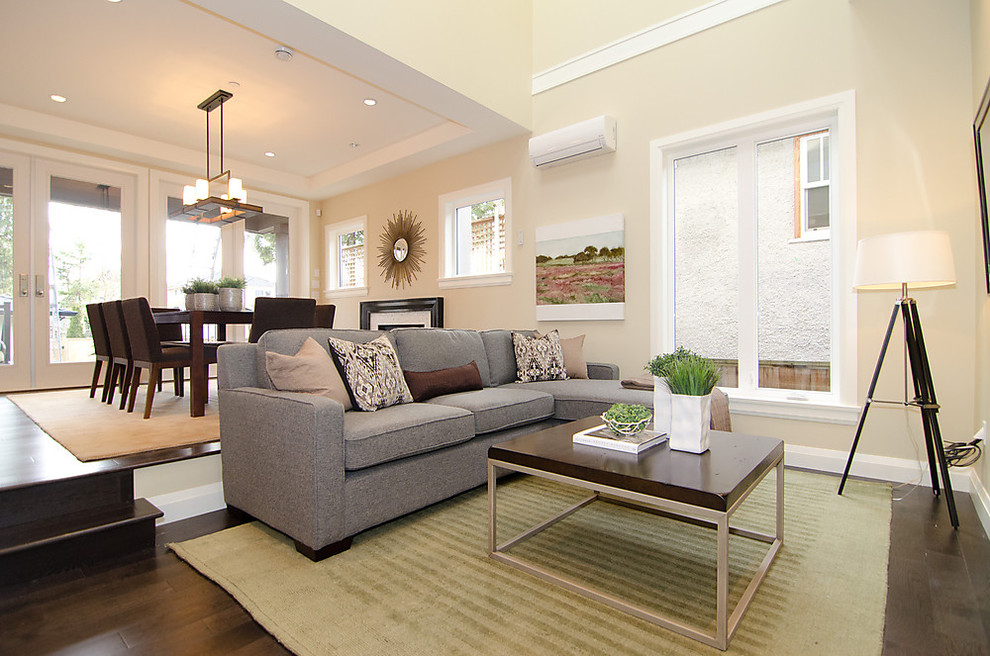 Low Profile Air Conditioner Living Room Contemporary with Area Rug Beige Dark Stained Wood Floor Dining Table Double French Doors