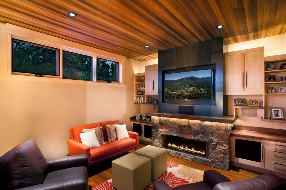 Lowes Electric Fireplace Family Room Rustic with Area Rug Built in Storage Ceiling Lighting Cove Lighting Media Storage Recessed