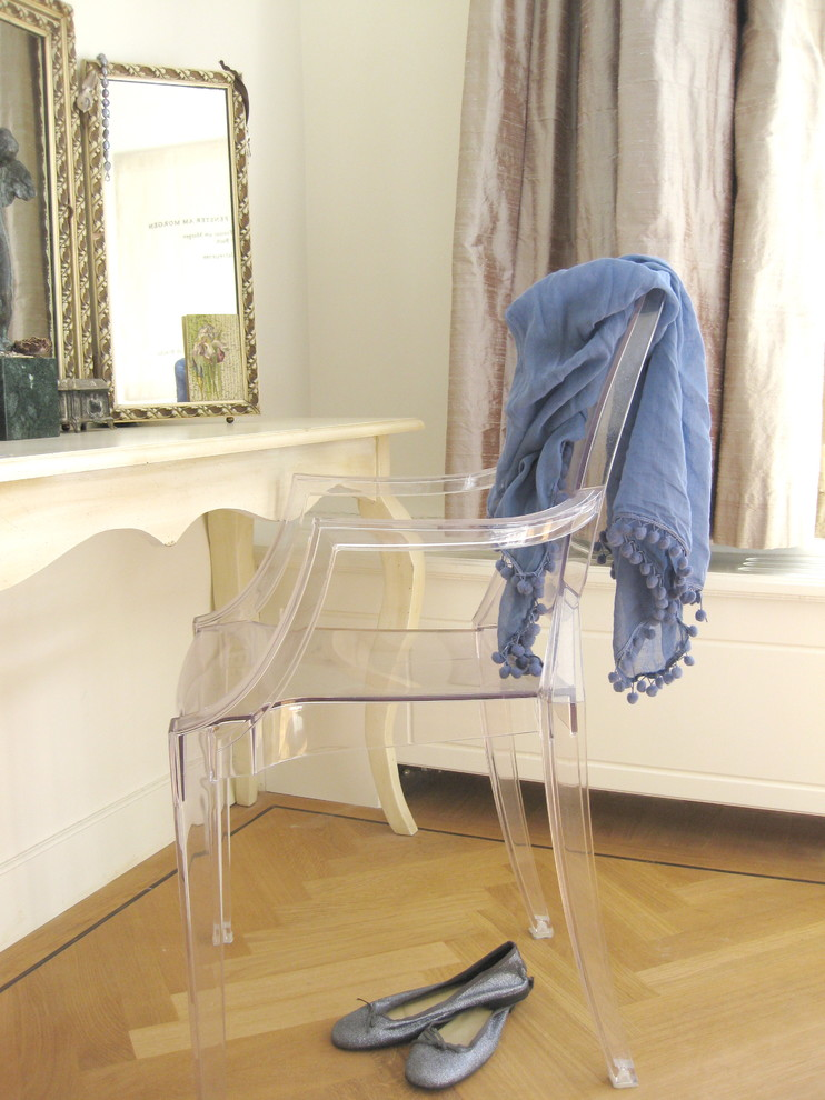 Lucite Chairs Bedroom Eclectic with Boudoir Curtains Drapes Dressing Table French Country Ghost Chair Herringbone Neutral Colors