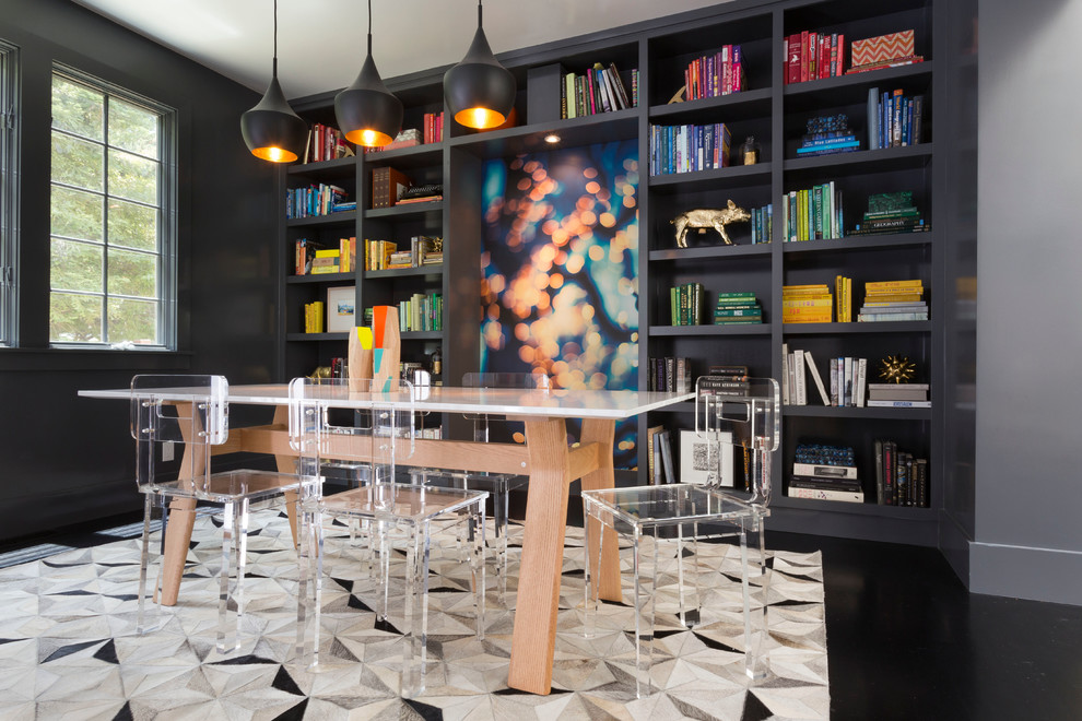 Lucite Chairs Dining Room Contemporary with Black Floor Bookshelves Built in Bookshelf Clear Dining Chairs Colorful Books Lucite