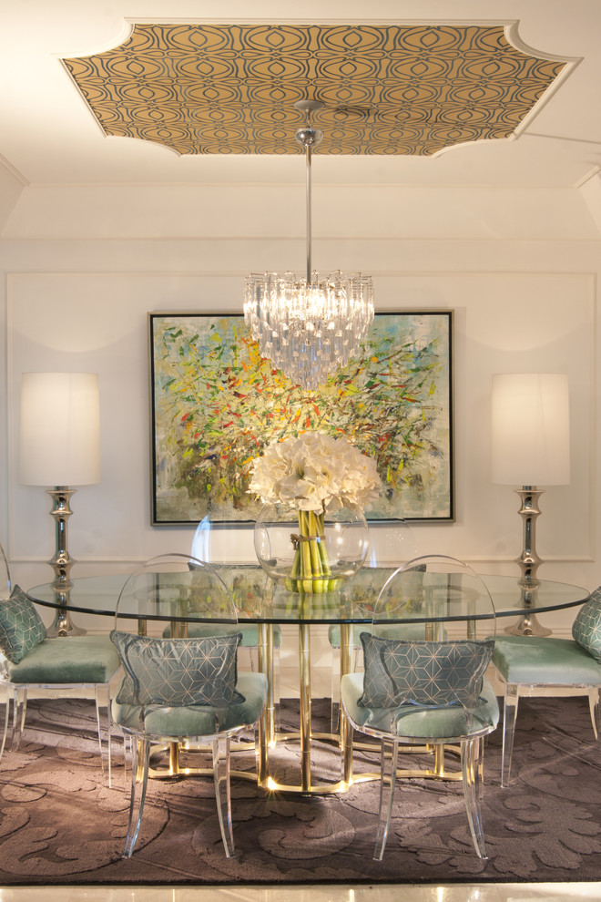 Lucite Chairs Dining Room Eclectic with Area Rug Artwork Centerpiece Chair Cushions Floor Lamps Floral Arrangement Glass Dining