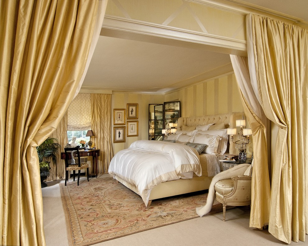 lush decor bedding Bedroom Traditional with area rug arm chair carpeting curtain panels dark stained wood desk duvet