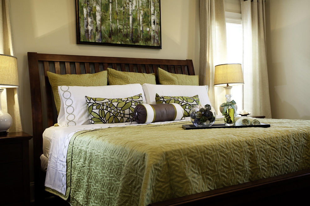 madison park bedding Bedroom Traditional with Arts and Crafts bed roll bedside table birch green pillows sage trees