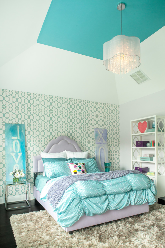 Madison Park Bedding Kids Transitional with Bed Pillows Bedroom Blue Bedding Blue Ceiling Clarke and Clarke Augustus Wallpaper