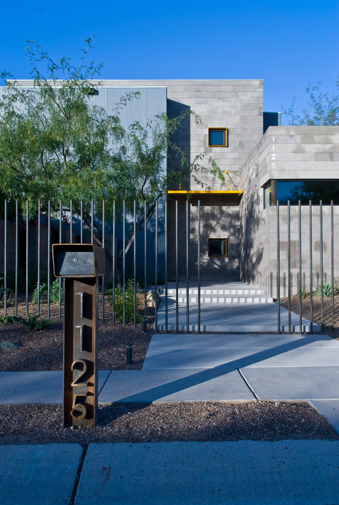 mailbox numbers Exterior Contemporary with arizona compact footprint concrete Concrete Pathway concrete pavers concrete walkway Custom Home