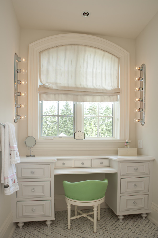 Makeup Vanities Bathroom Traditional with Arched Window Beige Drawers Beige Makeup Vanity Beige Molding Beige Roman Shade