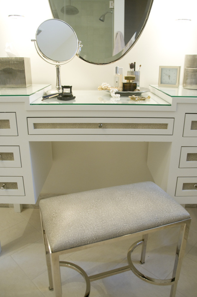 Makeup Vanities Bathroom Transitional with Leather Oval Mirror Shagreen Stool Vanity Waterworks