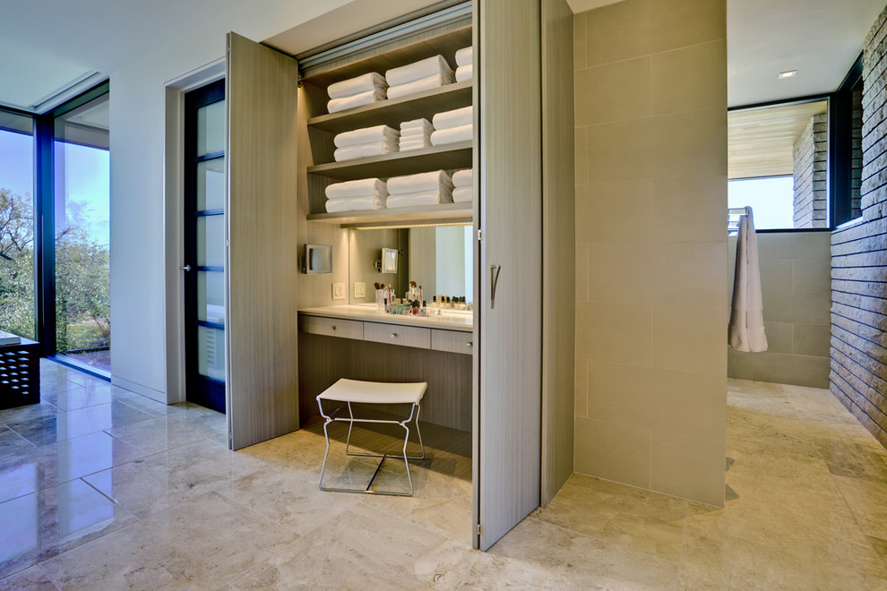 Makeup Vanity Set with Lights Bathroom Contemporary with Boudoir Closet Dressing Table Floor Tile Neutral Colors Stone Flooring Towel Storage