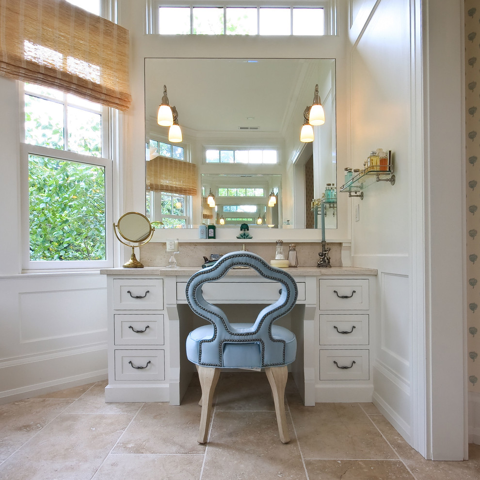 makeup vanity set with lights Bathroom Traditional with blue chair board and batten chair rail custom chair dado natural lighting