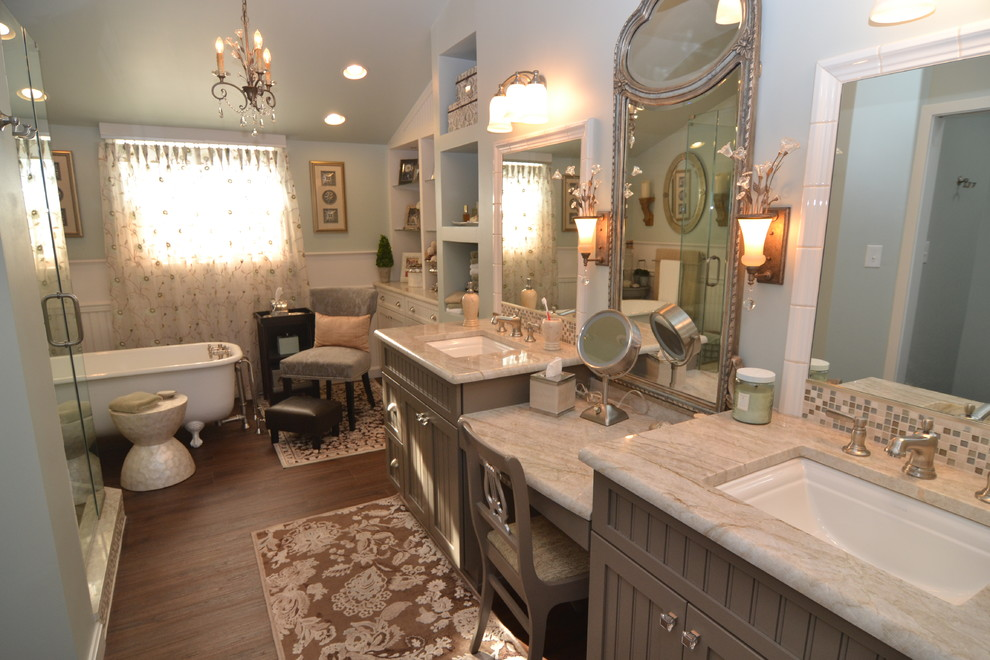 makeup vanity sets Spaces Traditional with built in cabinets built in desk Custom Cabinets custom-made hardwood flooring makeup