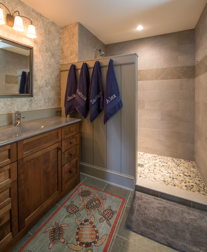 Malden Frames Bathroom Traditional with Bathroom Sink Gray Bathmat Gray Counter Gray Shower Tile Gray Sink Modern