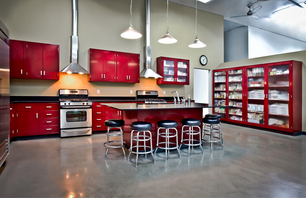 malden frames Kitchen Industrial with cabinets chunky glass concrete floor custom elegant glass front pantry high ceiling