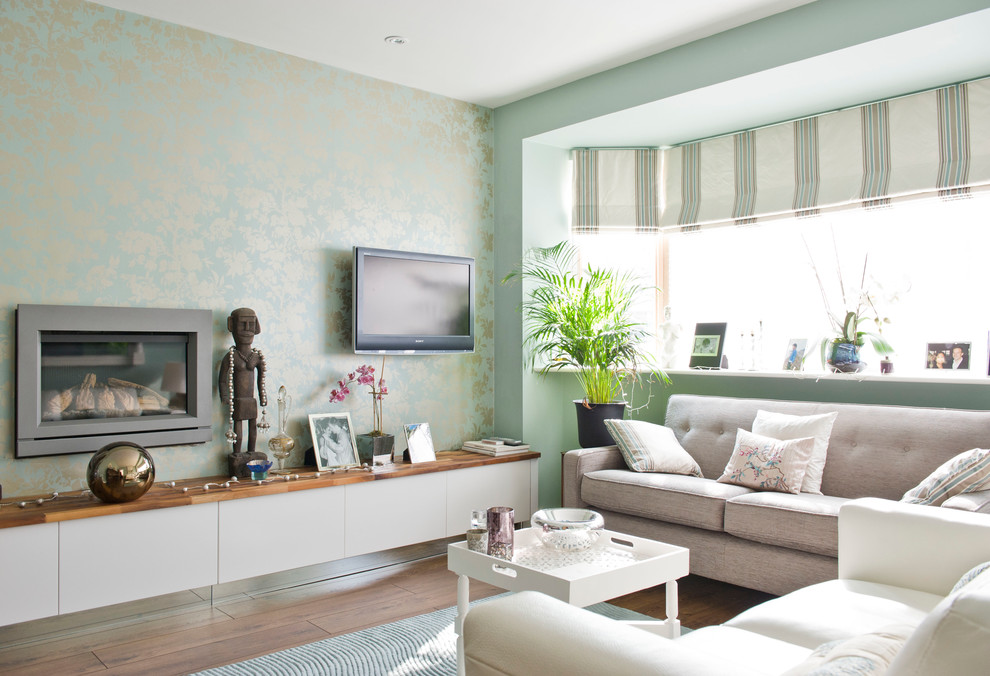 Malden Frames Living Room Contemporary with Aqua Built in Storage Contemporary Light Green Light Green and Gold Wallpaper New