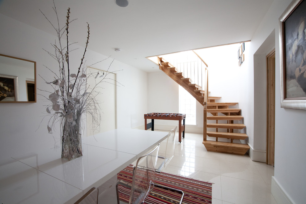 Malden Frames Staircase Contemporary with Clear Acrylic Chairs Contemporay Staircase Floating Staircase Fuse Ball Table Mirror Open