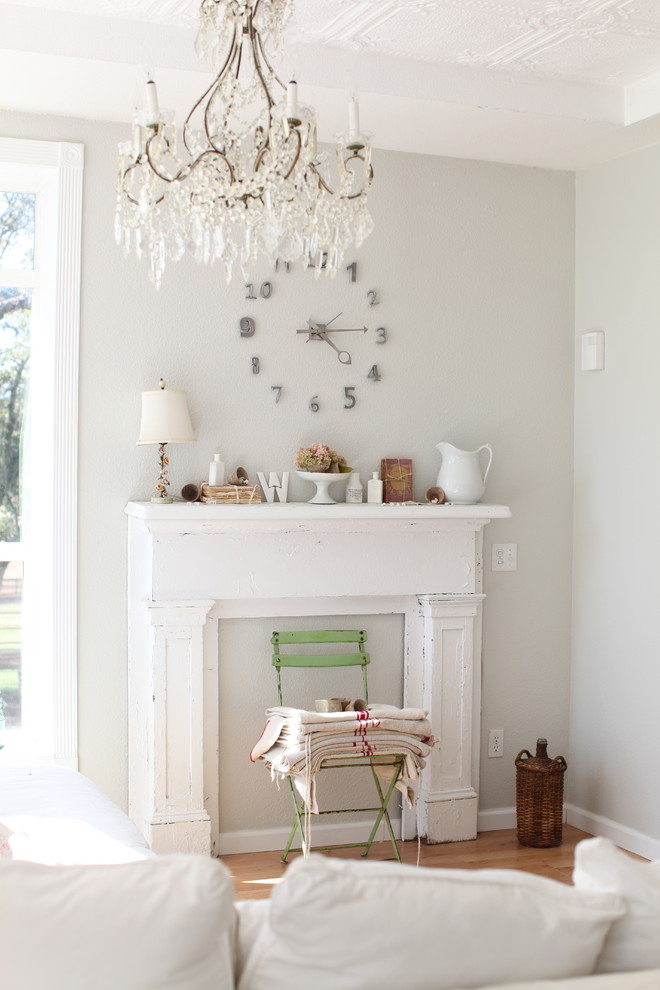Mantel Clock Living Room Shabby Chic with Ceiling Lighting Ceiling Treatment Chandelier Distressed Furniture Fireplace Mantel Grey Wall Neutral