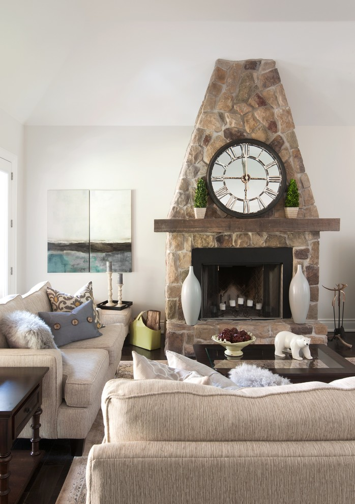Mantel Clock Living Room Transitional with Beige Beige Loveseat Candlestick Holders Faux Fur Fireplace Mantel Dcor Firewood Basket