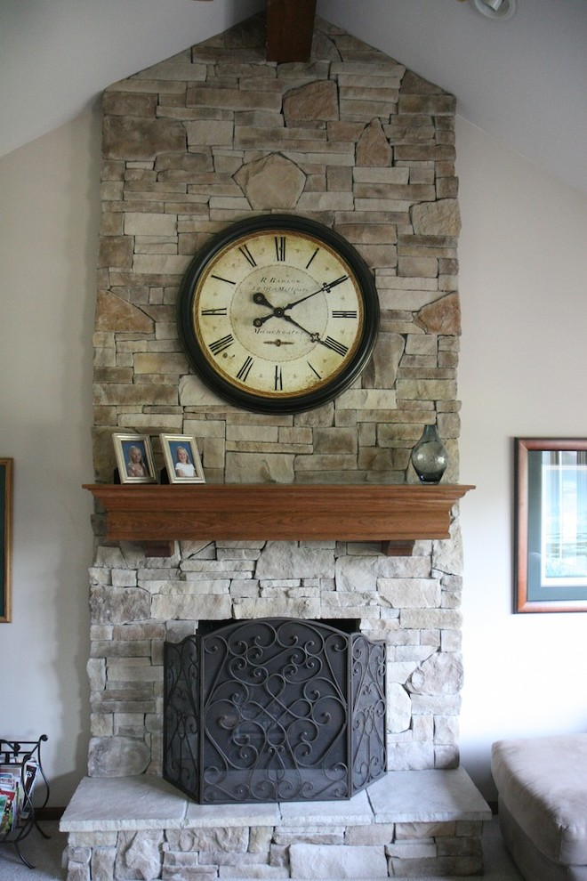 Mantle Clock Family Room Traditional with Faux Stone for Fireplaces Fireplace Design Ledge Stone River Rock Stone Stack