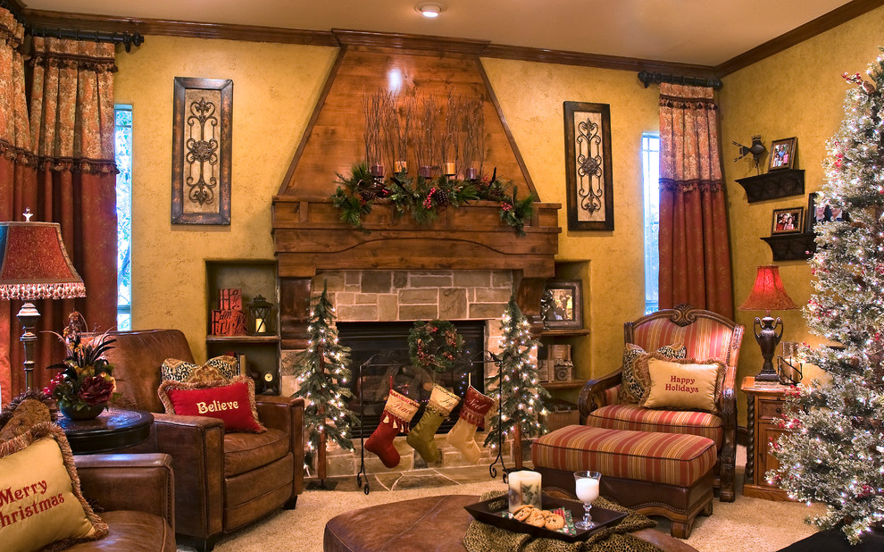 mantle stocking holders Living Room Traditional with beige carpet beige wall brick fireplace surround brown curtains brown leather armchair