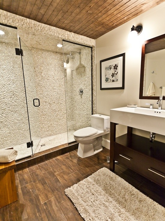 Marble Table Tops Bathroom Contemporary with Bathroom Pebble Shower Pebble Tile White Pebble White Tile