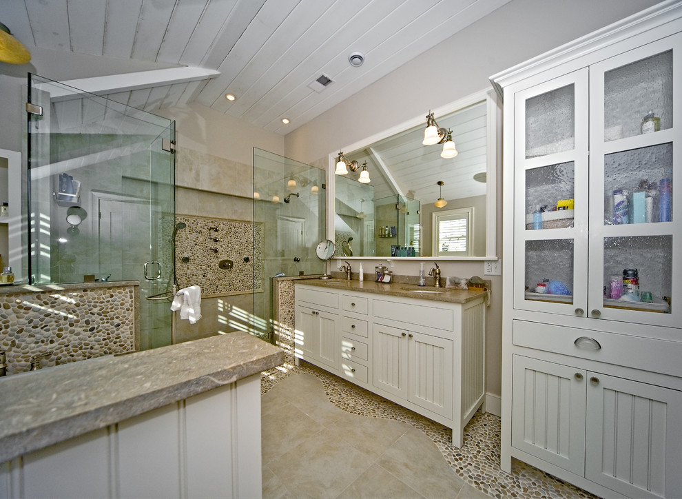 Marble Vanity Tops Bathroom Eclectic with Beadboad Panel Cabinet Brown Coastal Cream Double Sink Limestone Counter Pebbles River