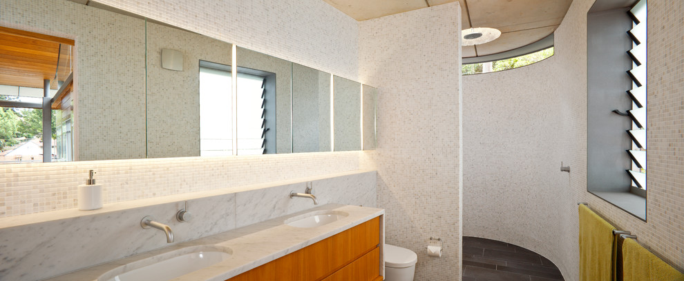 Marble Vanity Tops Bathroom with Aged Angophora Beautiful Cliff Concrete Concrete Ceiling Curved Custom Esd Highlight Windows