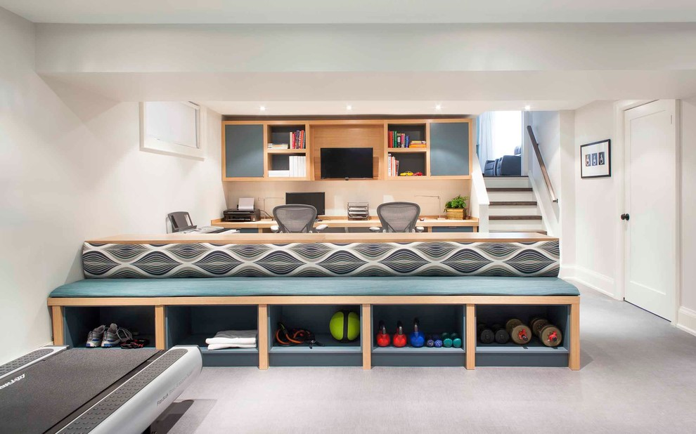 marcy weight bench Basement Contemporary with basement beige wall built-in bench built-in desk built-in seat carpet cubbies double