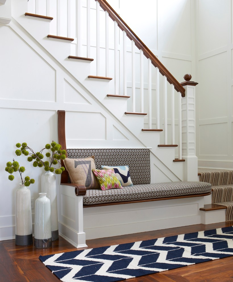 Marcy Weight Bench Entry Beach with Bench Blue and White Custom Front Entry Herringbone Runner Navy and White1