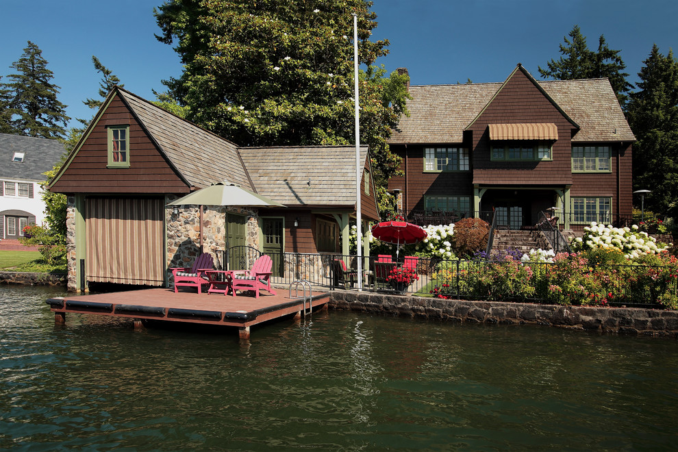 Market Umbrellas Garage and Shed Traditional with Adirondack Chairs Backyard Boat House Addition Dock Green Trim Historic Details Historic